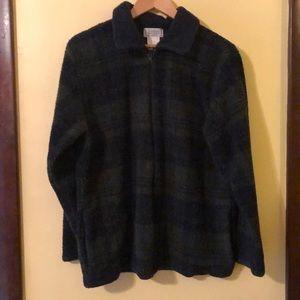 Women's black watch plaid light zip fleece jacket